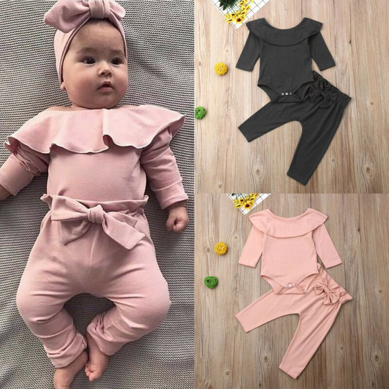 USA Toddler Baby Girl Ruffle Flower Bodysuit Romper Jumpsuit Clothes Outfits Set
