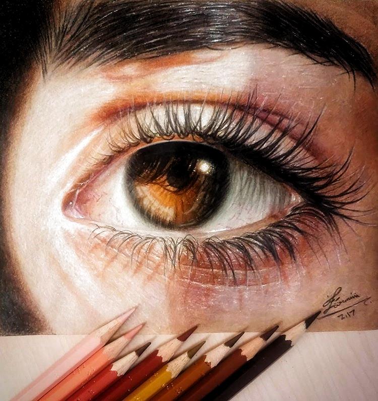 Light Brown Eyes Colored Pencils Realistic Eye Drawing Realistic Drawings Eye Art