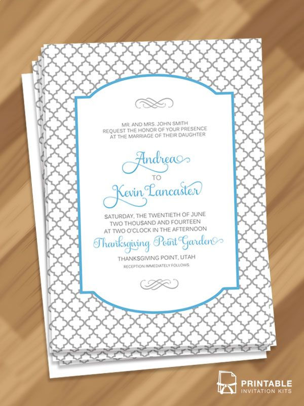 Free Pdf S Moroccan Trellis Patterned Invitation To And Print Very Easy Customize