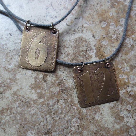Custom lucky number etched brass necklace    by WhyitsmeDesign.etsy.com  #lucky number #etched metal #favorite number