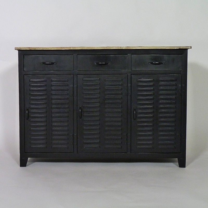 Buffet industriel 3 portes 3 tiroirs en métal aéré et plateau en