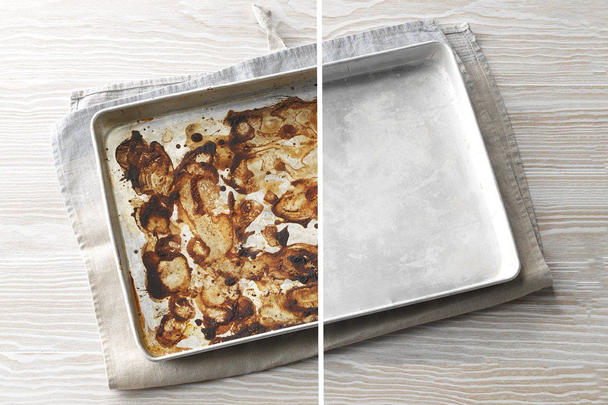 How to clean burnt sheet pan