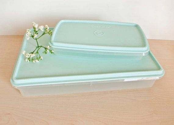 Vintage Tupperware Cold Cut Keeper Snack n Stor Storage Containers Robins Egg Blue Rectangular Containers Set & Vintage Tupperware Cold Cut Keeper Snack n Stor by TheWildWorld ...