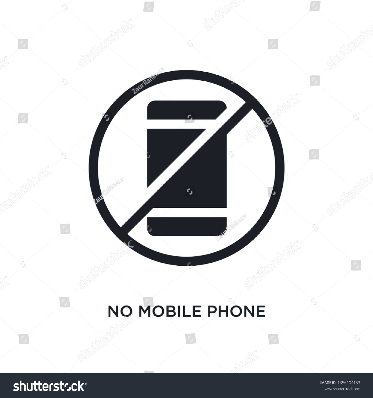 black no mobile phone isolated vector icon simple element illustration from traffic signs concept vector icons no mobile phone editable logo symbol design on white backgr...
