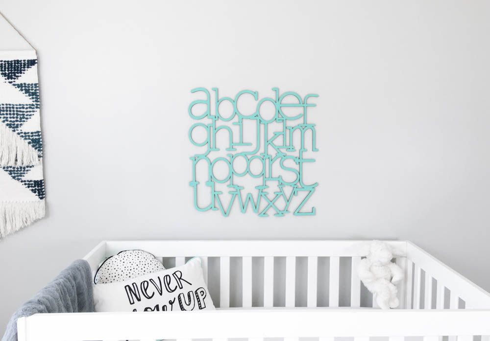 Alphabet Wall Art Natural Wood Finish Laser Cut Wooden Letters Nursery Decor Abcs Modern Baby Minimalist