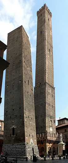 Towers of Bologna - A group of medieval structures in Bologna, Italy, built between the 12th and 13th centuries.   The two most prominent ones, called the TWO TOWERS, are the landmark of the city.  The heights of the these two are: the Asinelli Tower 318 feet, and the Garisenda Tower 157 feet (it was lowered from 197 feet in the 14th century).  Both towers are leaning.