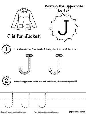 writing uppercase letter j worksheets pediatric ot and preschool curriculum. Black Bedroom Furniture Sets. Home Design Ideas
