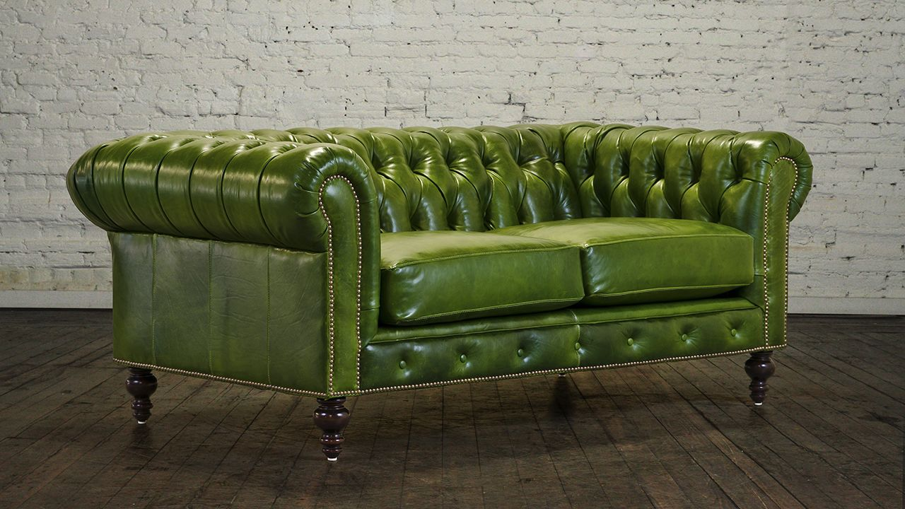 Green Leather Loveseat For A Natural Impact In A Living Area Leather Loveseat Love Seat Best Leather Sofa