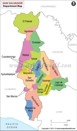 Mapa Del Departamento De La Capital San Salvador Cabecera San