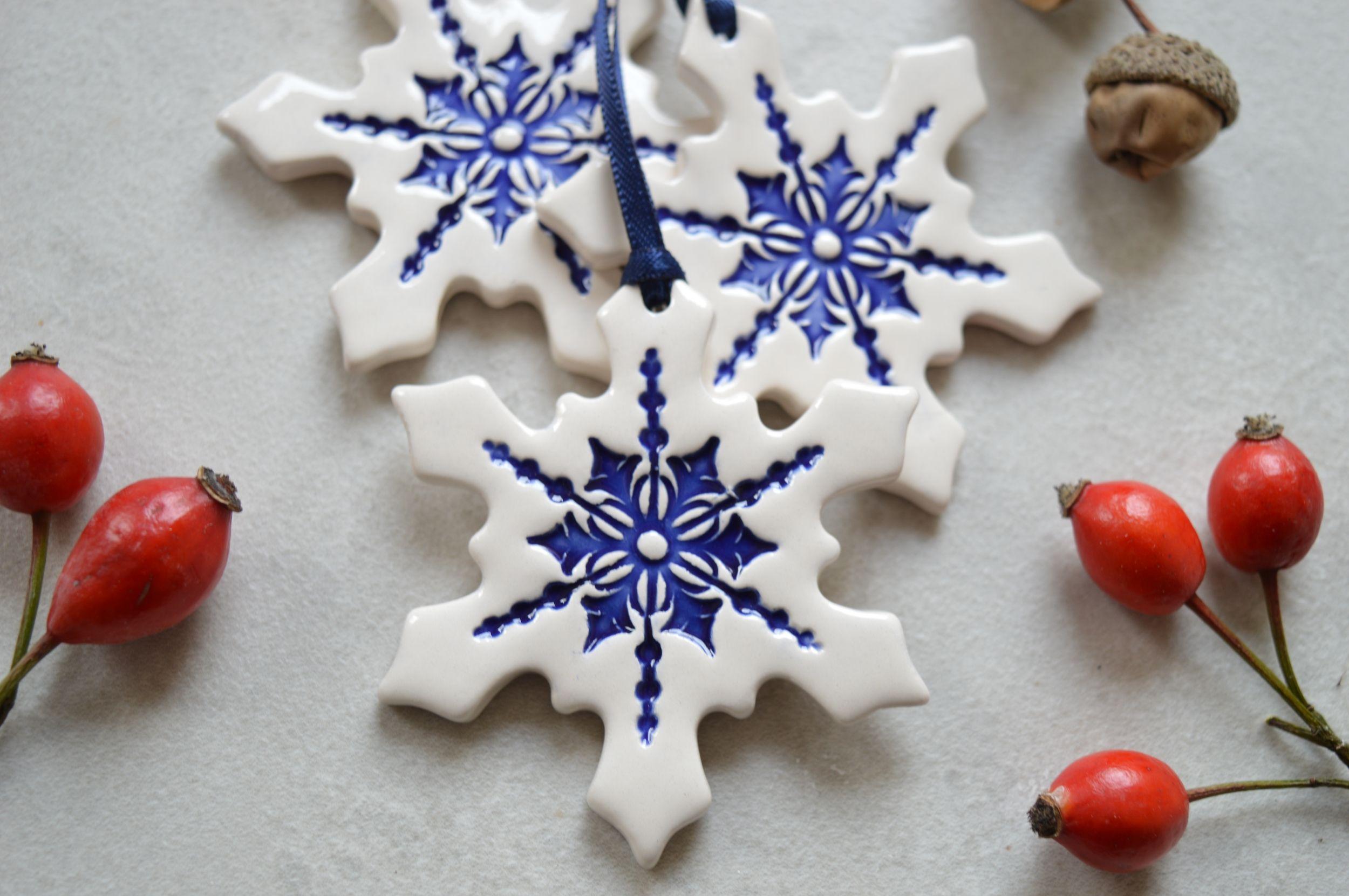 Christmas Decorations Ceramic Snowflake Ornament Set Of 3 White Christmas Ornaments Handmade Christmas Decorations Ceramic Christmas Decorations