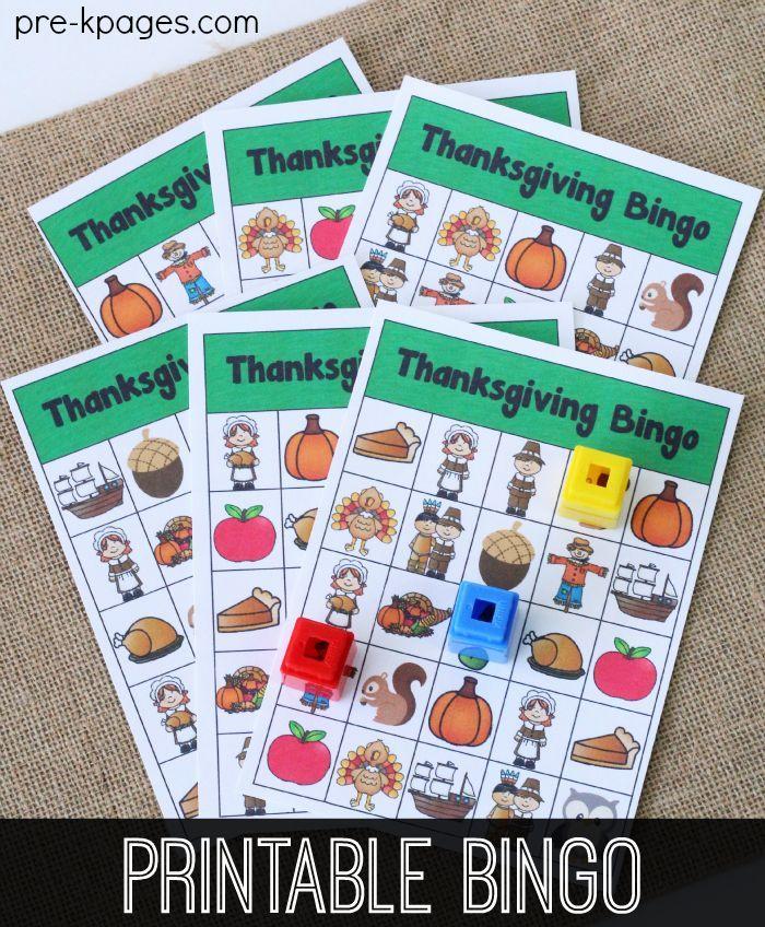 Printable Thanksgiving Bingo   Kindergarten, Thanksgiving and Plays
