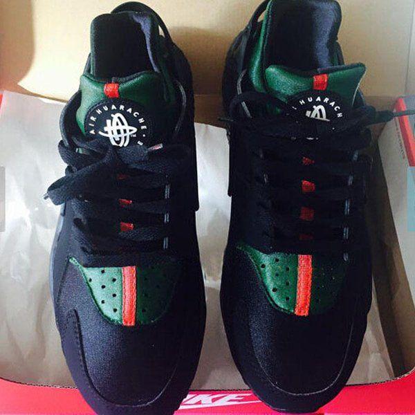 83592b7ece01f7 Triple Black Huaraches Gucci customs  GottaLoveDesss