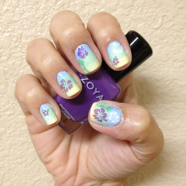 Luau nails with BM 313 & 318 | Nail Art | Pinterest | Luau and ...