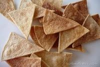 Baked Cinnamon Chips (using whole wheat tortillas & hardly any sugar = healthier snack)