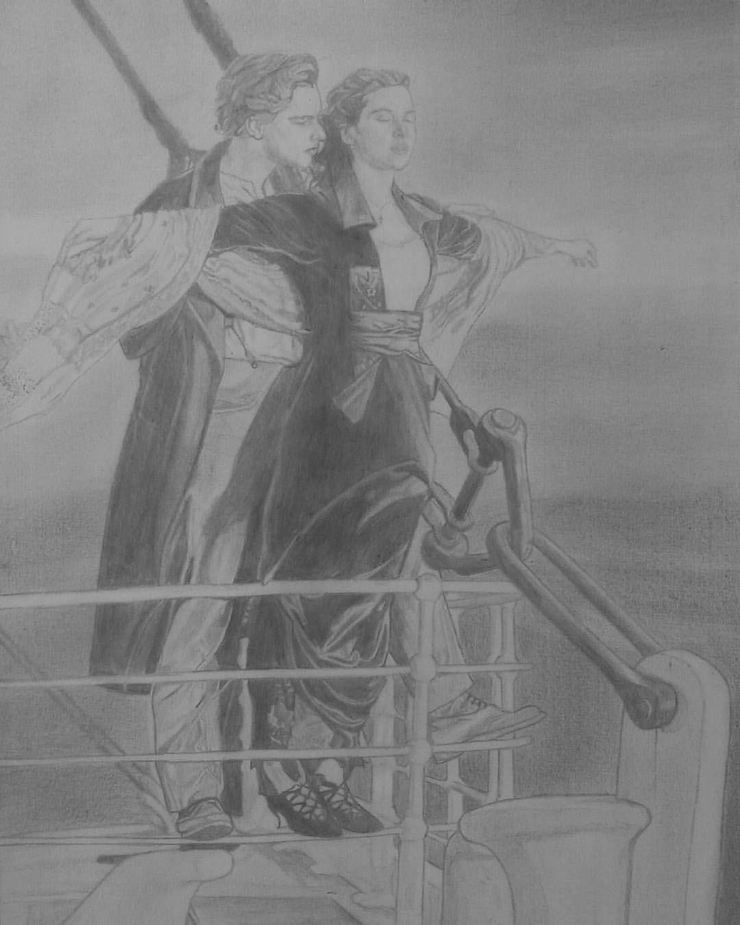 Jack Rose Titanic Lapiz Dibujos Comprar Arte Original Titanic Dibujo Arte De Silueta Luz Y Sombra Dibujo