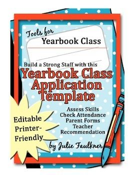 yearbook staff application and parent student contract editable