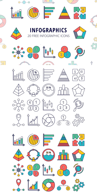 Infographics Vector Free Icon Set In 2020 Infographic Icon Set