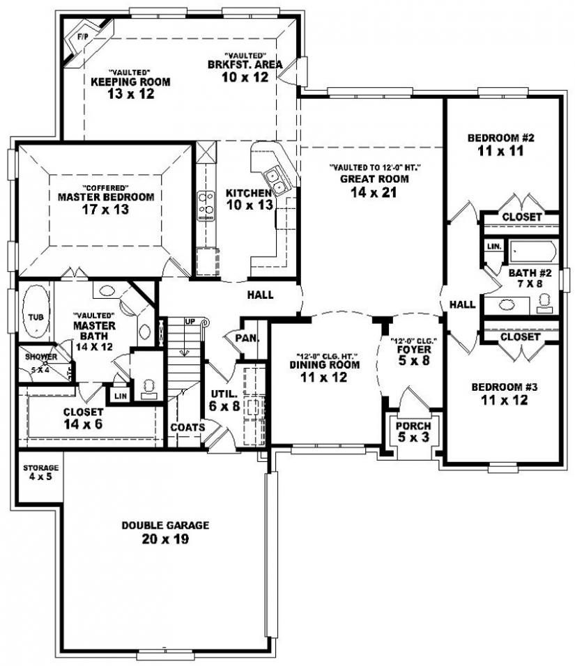 See Master Bath 653887 3 Bedroom 2 Bath Split Floor Plan House Plans Floor Plans Home Plans P Basement House Plans 4 Bedroom House Plans House Plans Uk