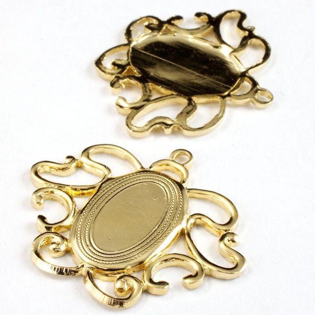 30mm Gold Art Nouveau Cabochon Setting