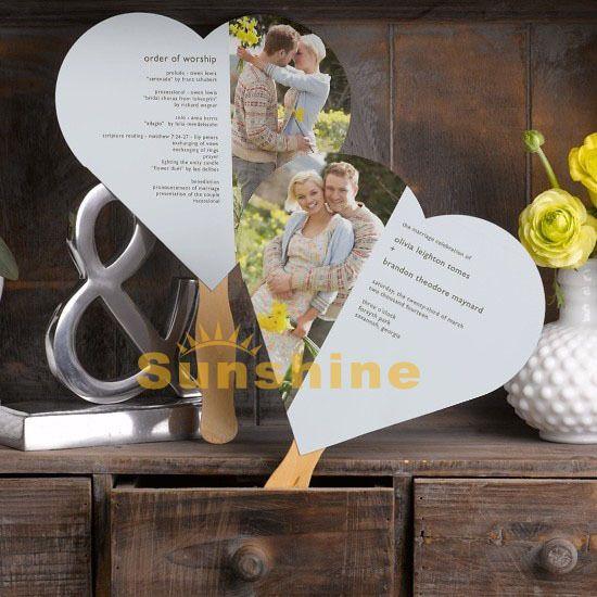 Heart Custom Wedding Programs Fans Handmade Party Engagement Invitations PFH 12503 Free
