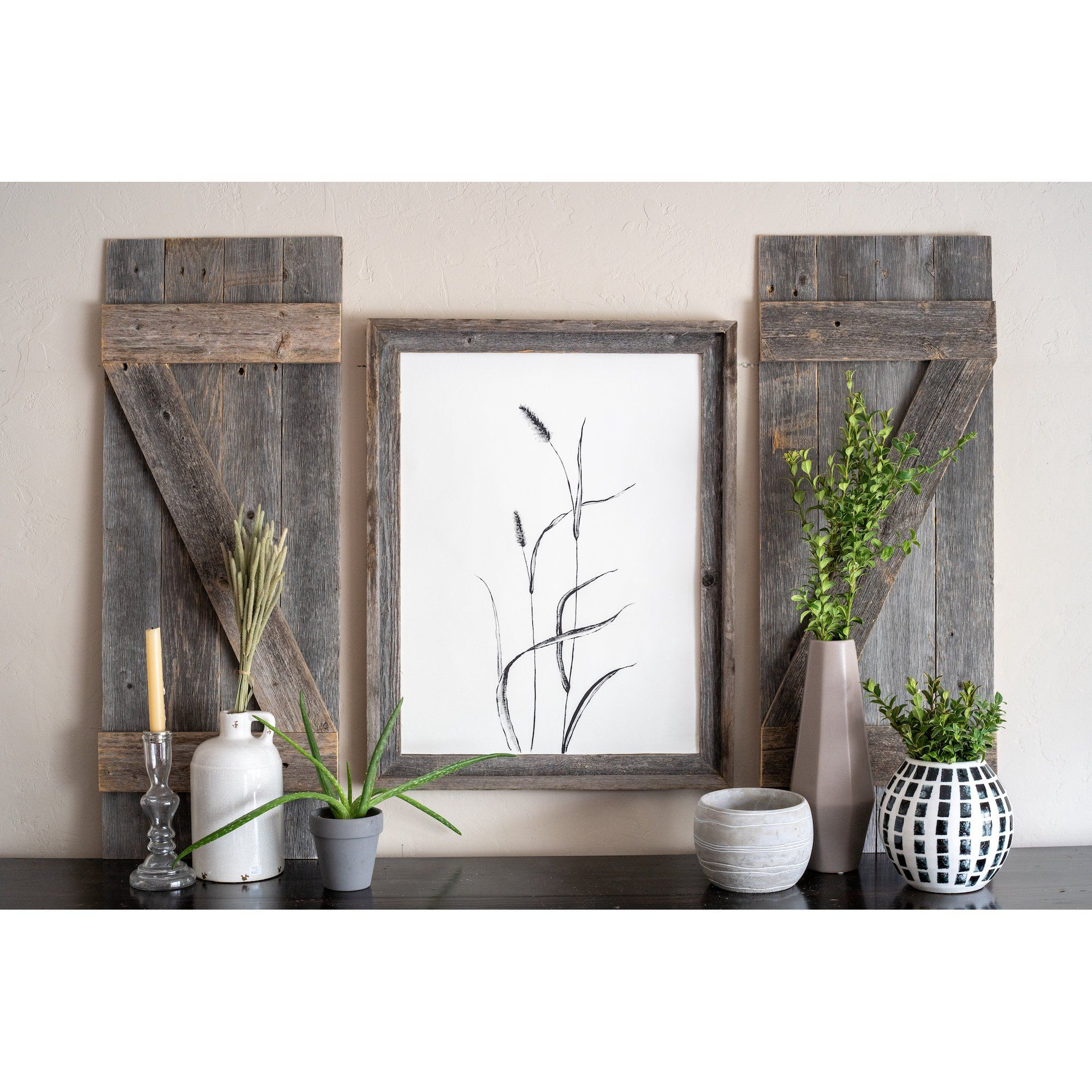 Barnwoodusa Rustic Farmhouse Window Shutters Set Of 2 Made Of 100 Reclaimed And Recycled Wood Rustic Interior Window Shutters Traditional Country Sty In 2020 Decor Rustic Interior Shutters Barn Wood Walls Living Room