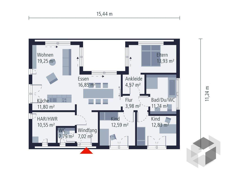 Grosser Bungalow Mit 3 Schlafzimmern Musterhaus Stelle Von Okal Haus Alle Infos Zum Haus Inkl Grundrisse Mit Einem Klick Okal Haus Grundriss Bungalow Haus