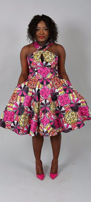 African Print Senegal Midi Dress: African Clothing : NEW PAULINE Dress Handmade From