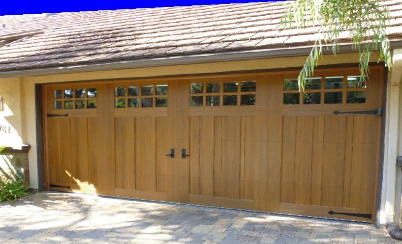 Canyon ridge collection stained faux wood carriage house for Faux carriage garage door