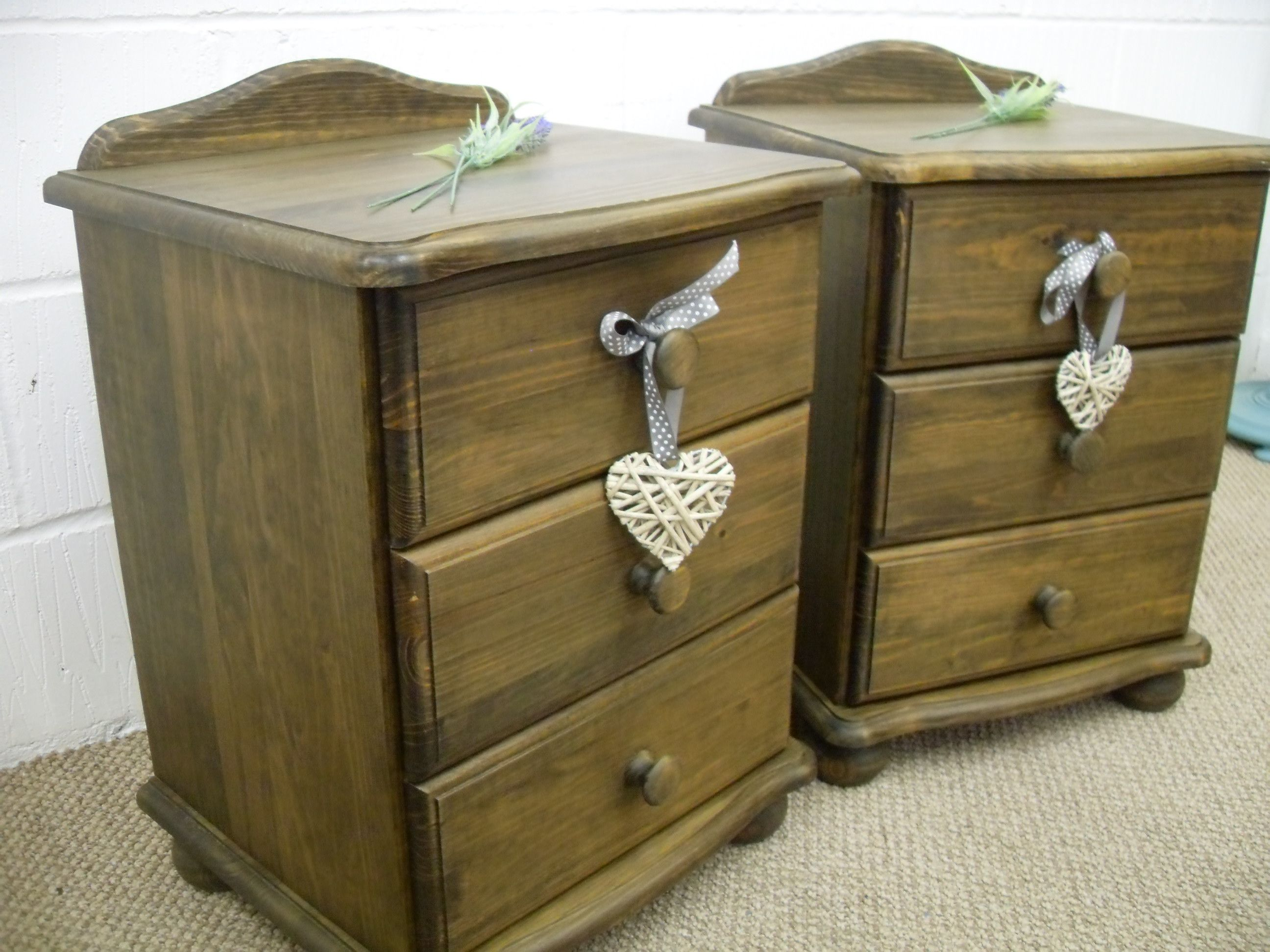 2 X DARK WAXED SOLID PINE BEDSIDE CABINETS - W 48 - D 40 - H 62 CM - £139  http://www.drabtofabfurniture.co.uk/