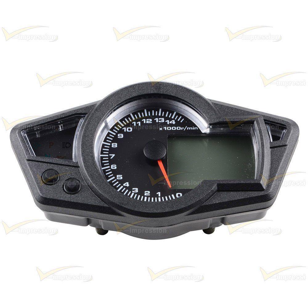 Digital Odometer Gauge : Motorcycle rpm lcd digital odometer tachometer