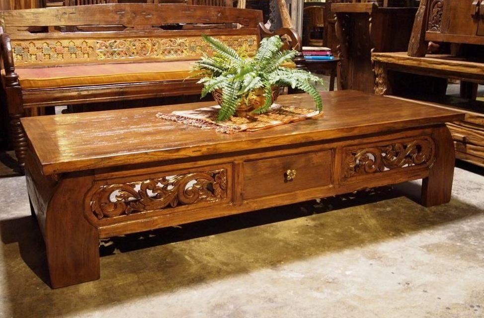Reclaimed Teak Carved Coffee Table Bali Furniture Indonesian Furniture Coffee Table