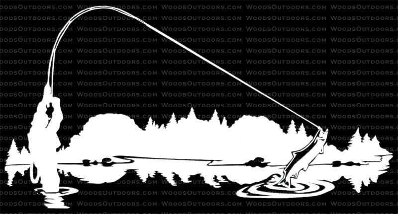 Fly Fishing Man Dog Home Decor Car Truck Window Decal Sticker