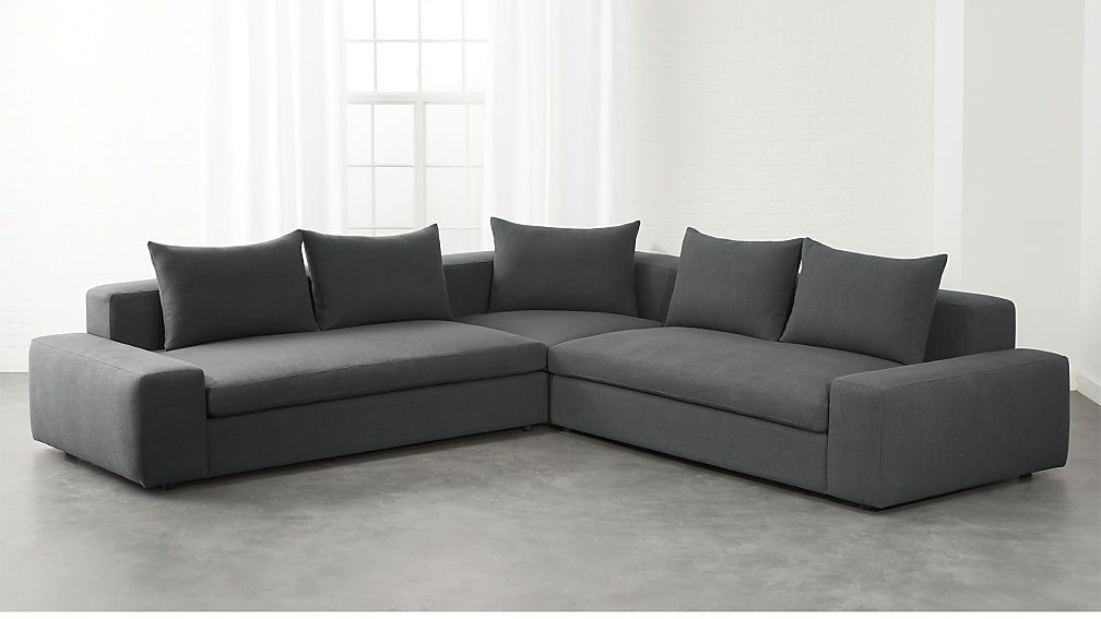 Arlo 3 Piece Iron Grey Wide Arm Sectional Sofa Cb2 Sectional Sofa Grey Furniture Living Room Modern Furniture Living Room