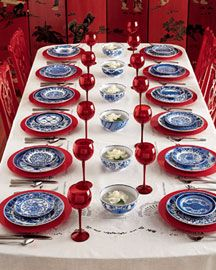 Asian Table Setting Idea Love the red white and blue! & If you want this look try mixing our Colorwave Raspberry Rim Dinner ...