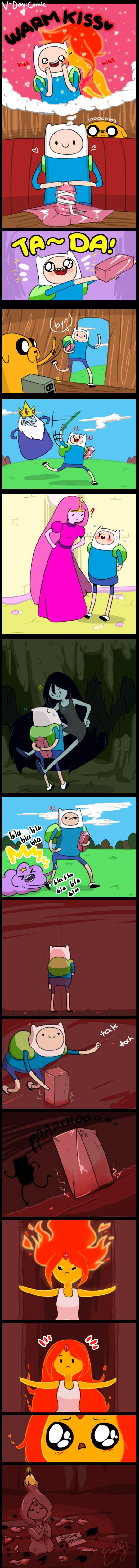 Adventure Time Princess Day minicomic: finn x flame princess v-day | adventure time