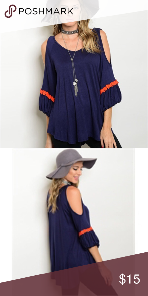1a4fab359c684 Blue orange trim cold shoulder top Size Small blue and orange cold shoulder  jersey knit Blouse ... Super cute and fits true to size... relaxed fit Tops  ...