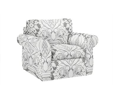 Pearce Slipcovered Swivel Armchair, Down Blend Wrapped Cushions, Damask Print Ebony