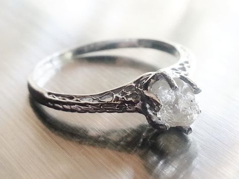 MADE TO ORDER Handmade Raw Quartz Engagement Ring Rough Diamond Wedding Band Unique Gemstone Sterling Silver Promise Ring Size 6 Yellow Gold