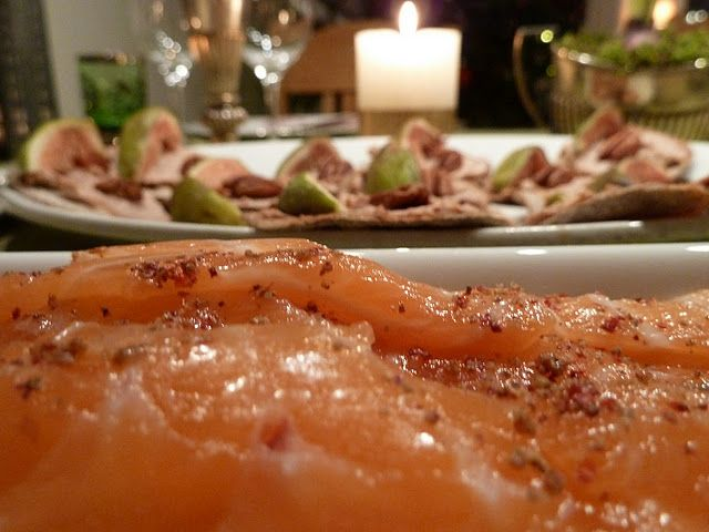 Salt,vermouth and pink peppercorn cured salmon