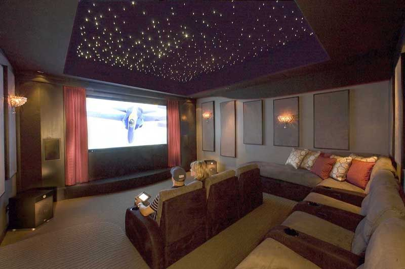 What an amazing media room! Theater seating, sound absorption wall ...