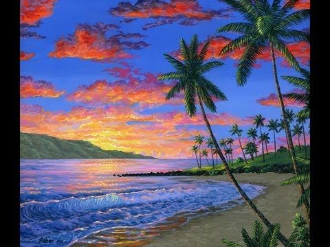 Wie Zu Malen Einen Tropischen Strand Mit Acryl Youtube Strand Zeichnung Sonnenuntergang Zeichnen Sonnenuntergang Malen