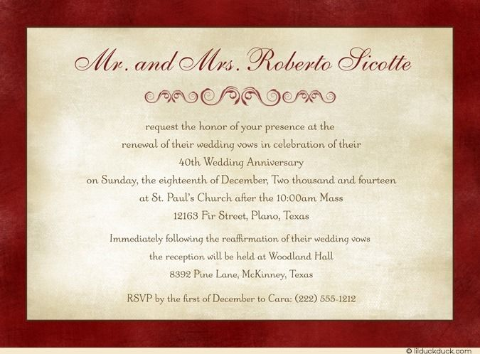 Nice Wedding Vow Renewal Invitation Wording Samples With Ruby