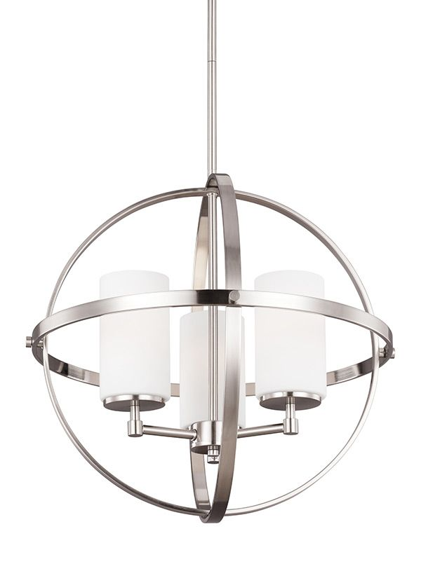 3124603 962 Three Light Chandelier Brushed Nickel