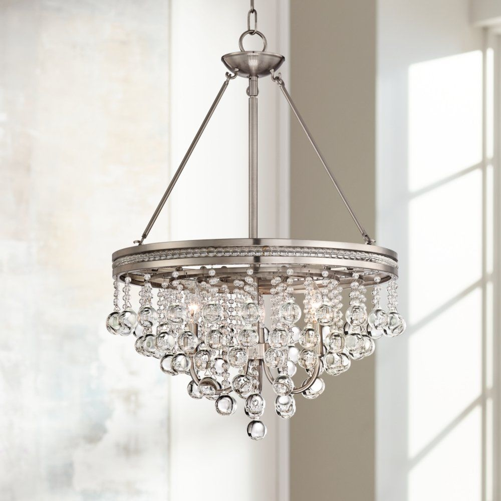 Regina Brushed Nickel 19 Wide Crystal Chandelier * Read