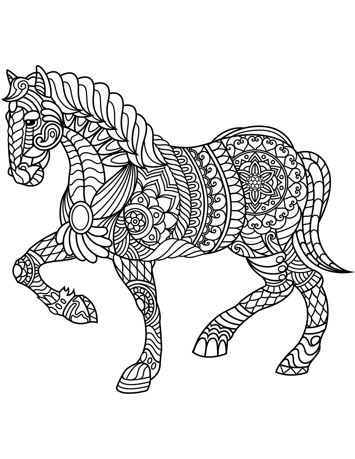 Horse Coloring Pages For Adults