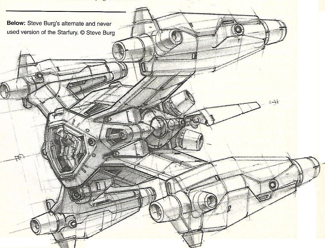 Concept Art For The Starfury From The Babylon 5 Magazine