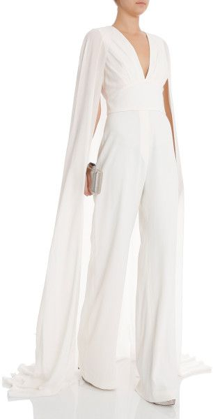 Elie Saab White Bklss Jumpsuit W Train Moi Dresses Jumpsuit
