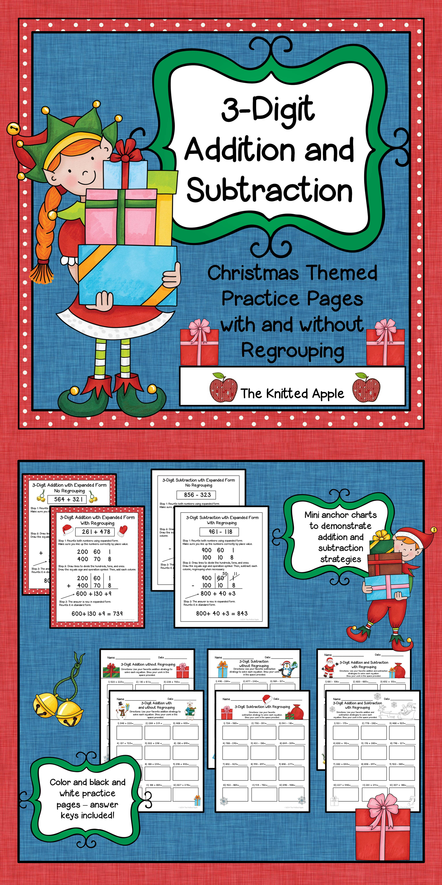 3 Digit Addition And Subtraction With And Without Regrouping Christmas Theme