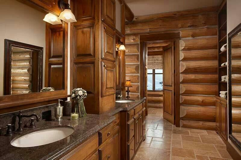 Log cabin bathroom House- Bathroom Pinterest Cabin bathrooms