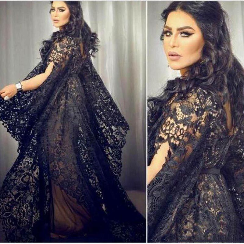 Chic Saudi-arabien Schwarz Spitze Abendkleider Mit Flare Ärmel ...